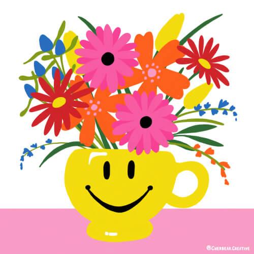 Happy Face Flowers Illustration by Cherbear Creative Studio