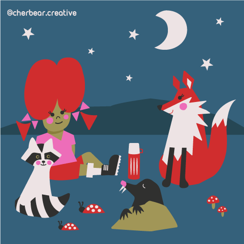Nocturnal Picnic Illustration Moon Dogs Illustration Doggie Diner Illustration Bear and Plants Illustration by cherbear creative studio