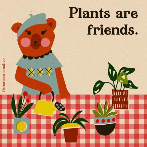 Bear and Plants Illustration by cherbear creative studio
