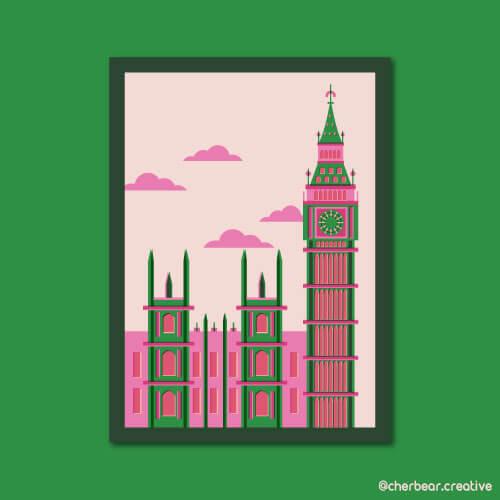 London Illustration by Cherbear Creative Studio