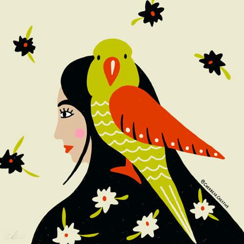 Bird girl illustrtion by Cherbear Creative Studio