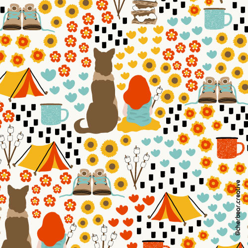 Camping Pattern by Cherbear Creative Studio