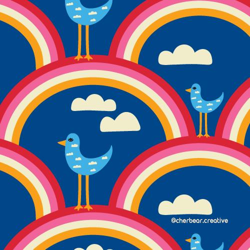 Rainbow birds pattern by cherbear creative studio