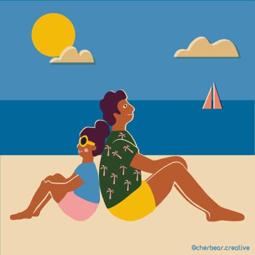 Beach Illustration by Cherbear Creative Studio
