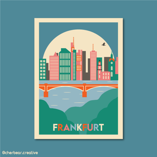 Frankfurt Illustration by Cherbear Creative Studio