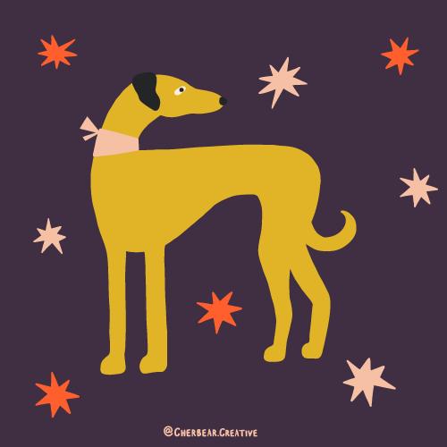 Greyhound Illustration by Cherbear Creative Studio