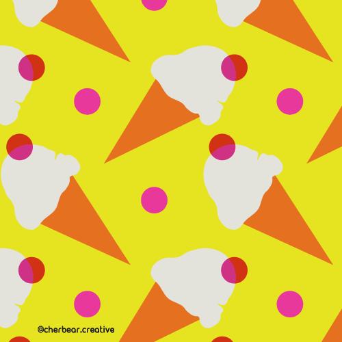 Ice-Cream Pattern by Cherbear Creative Studio