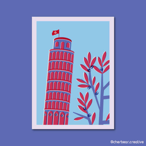 Leaning Tower of Pisa Illustration by Cherbear Creative Studio