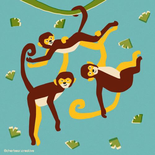 Monkey Illustration by Cherbear Creative Studio