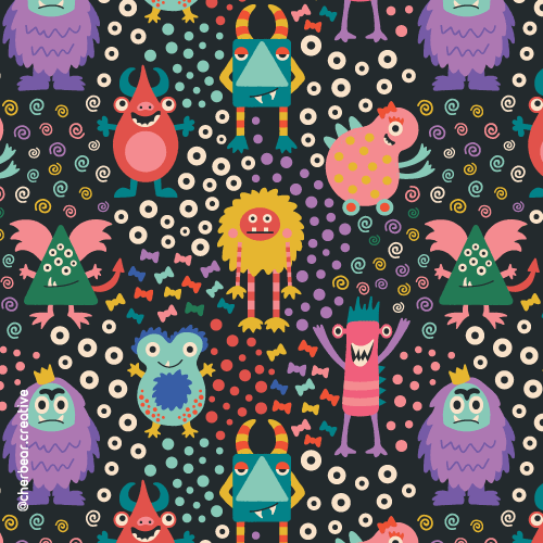 Monsters Pattern by Cherbear Creative Studio