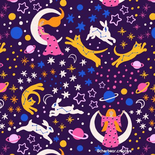 Moon Goddess Pattern by Cherbear Creative Studio