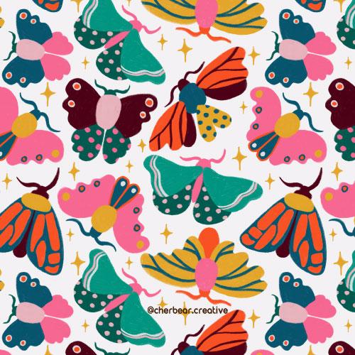 Colorful Moths pattern by cherbear creative studio