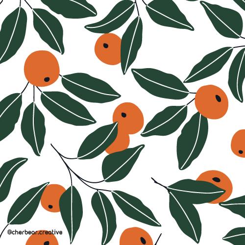 Oranges Pattern by Cherbear Creative Studio