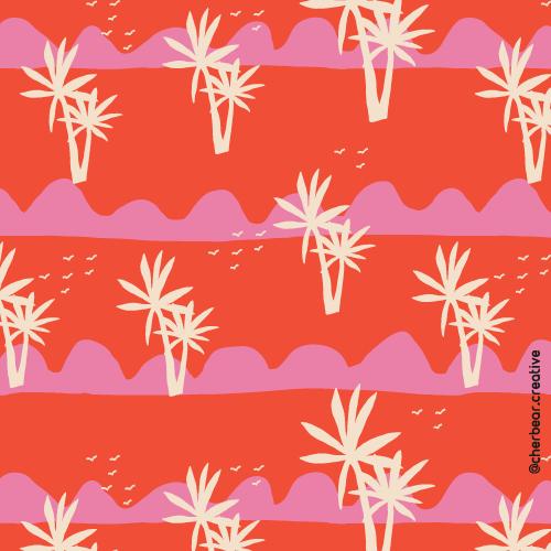 Palm Trees Pattern by Cherbear Creative Studio