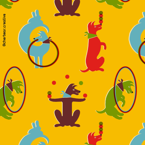 Performing Dogs Pattern by Cherbear Creative Studio