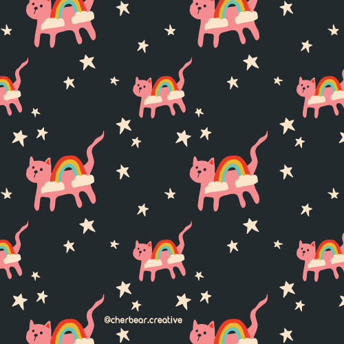 Rainbow Cats pattern by Cherbear Creative Studio