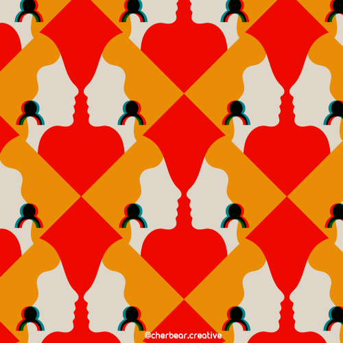 Red Head Pattern by Cherbear Creative Studio