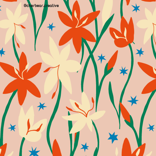River Lily Pattern by Cherbear Creative Studio
