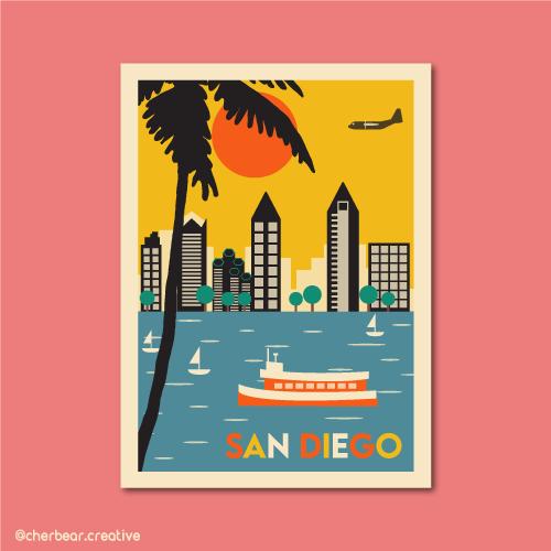 San Diego Illustration by Cherbear Creative Studio