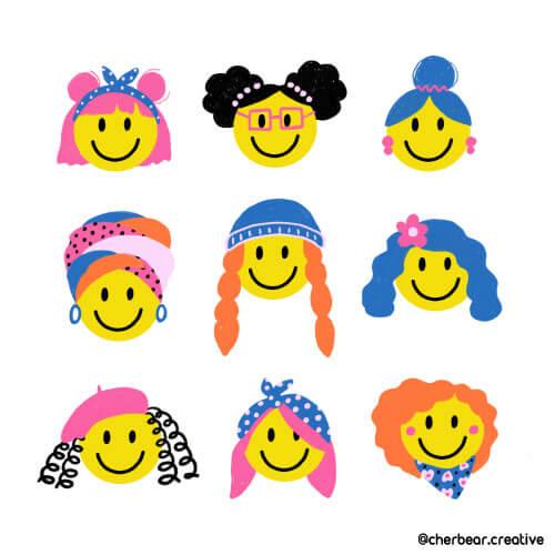 Smiley Face girls illustration by Cherbear Creative Studio