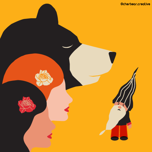 Rose Red and Snow White Illustration by Cherbear Creative Studio