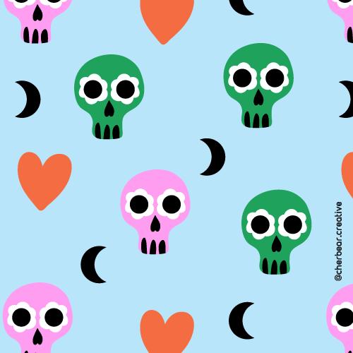Sugar Skulls Pattern by Cherbear Creative Studio