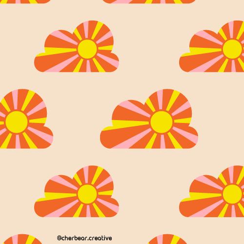 Sunshine Clouds Pattern by Cherbear Creative Studio