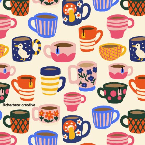 Tea Cups Pattern by Cherbear Creative Studio