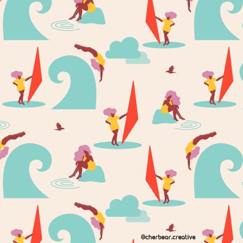Water Women Pattern by Cherbear Creative Studio